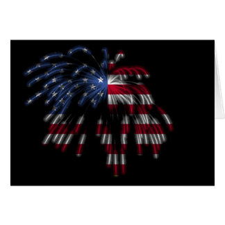 July 4th Fireworks & the American Flag in Lights Greeting Card