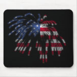 July 4th Fireworks & the American Flag in Lights Mouse Pads