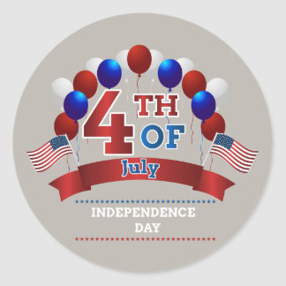 July 4th flags and balloons classic round sticker
