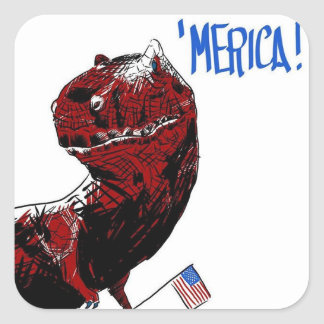 July 4th T Rex Square Sticker