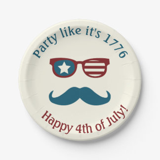 July 4th Themed Patriotic Plates 7 Inch Paper Plate