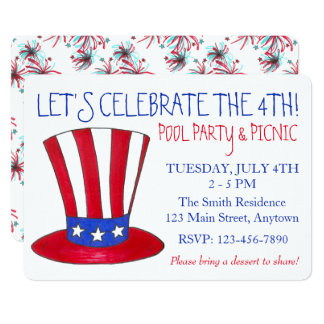 July 4th Uncle Sam Fireworks Patriotic USA Party Card