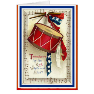 July 4th Vintage Marching Drum Red White & Blue Card