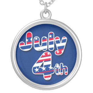 July 4th with Stars and Stripes Round Pendant Necklace