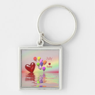 July Birthday Ruby Heart Silver-Colored Square Key Ring