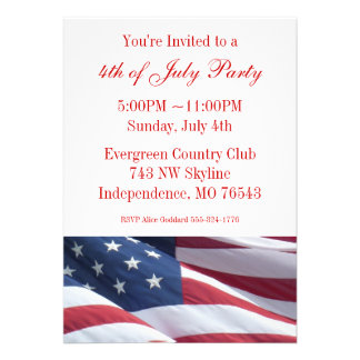 July Fourth or Election Campaign Party Invitations