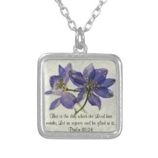 July Larkspur bible verse Necklace