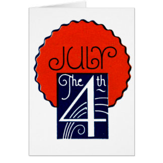 July the 4th mod retro patriotic Independence Day Note Card