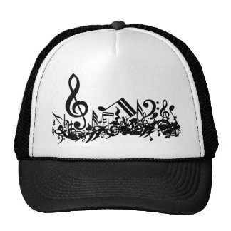 Jumbled Musical Notes Black and White Trucker Hat
