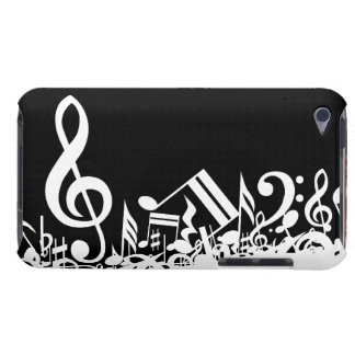 Jumbled Musical Notes Black and White iPod Touch Cover