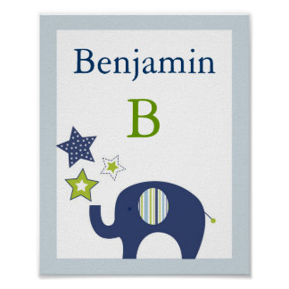 Jumbo Blue Elephant Star Nursery Wall Art Print