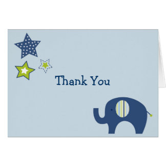 Jumbo Blue Elephant Star Thank You Note Cards