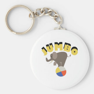 Jumbo Elephant Basic Round Button Keychain