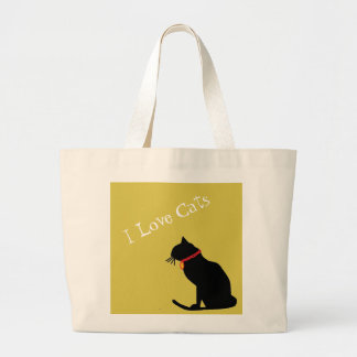 Jumbo I Love Cats Yellow And White  Graphic Tote