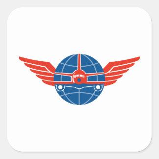 Jumbo Jet Plane Front Wings Globe Sticker