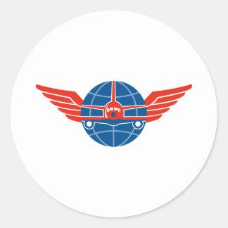 Jumbo Jet Plane Front Wings Globe Round Sticker