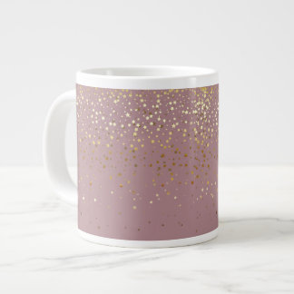 Jumbo Mug-Petite Golden Stars-Mauve Large Coffee Mug