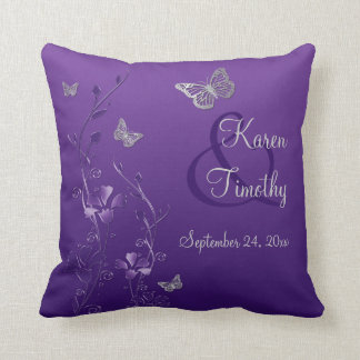 Jumbo Purple Gray Butterfly Floral Keepsake Pillow Cushions