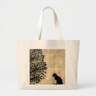 Jumbo Sepia And White Cat Graphic Tote