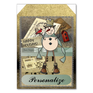 Jumbo Size Gift Tags | Vintage Blue Snowman Card