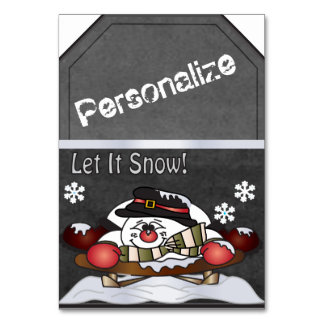 Jumbo Snowman Sleighing Chalkboard Style Gift Tag Table Cards