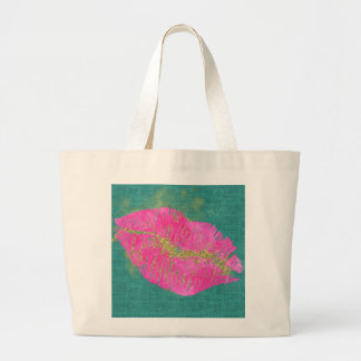 Jumbo Tote-Bling Lips with Gold Glitter Large Tote Bag