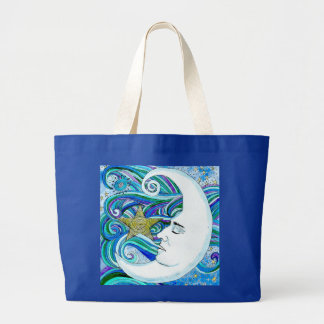 Jumbo Tote-Large Blue Moonface Jumbo Tote Bag