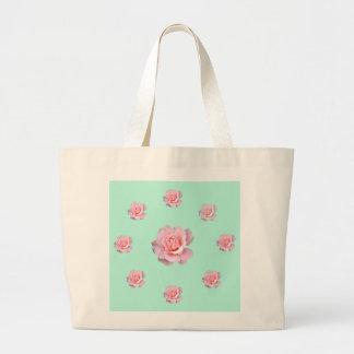 Jumbo tote with pastel roses. jumbo tote bag