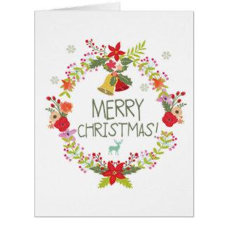 Jumbo Watercolor Wreaths Christmas Card