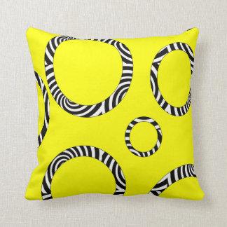 Jumbo Yellow, Black, White Striped Circles Pillow