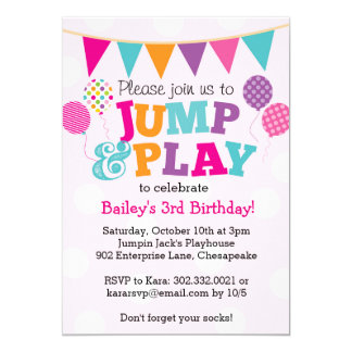Jump and Play Balloons Invitation (Pink & Purple)