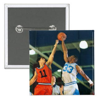 Jump ball in basketball game 15 cm square badge