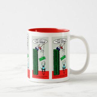 JUMP HIGHER brilliant sarcastic cartoon Two-Tone Mug