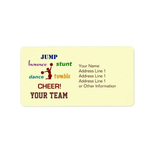 Jump Stunt Bounce Cheerleader Address Labels