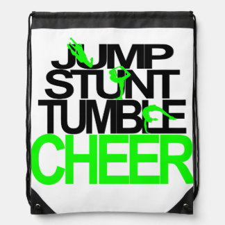 Jump, Stunt, Tumble, Cheer Backpack Green & Black
