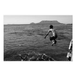 Jump to Sea Montecristi Dominican Republic BW Photo Print