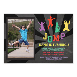 Jump Trampoline Birthday Party Photo Invite