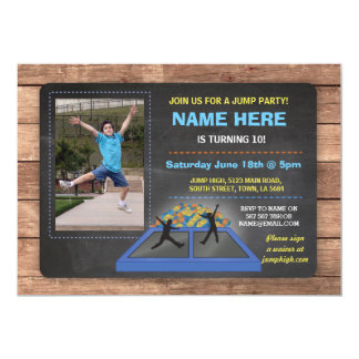 Jump Trampoline Blue Birthday Invite
