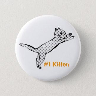 Jumping #1 Kitten 6 Cm Round Badge