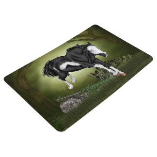 Jumping Black and White Overo Paint Horse Floor Mat