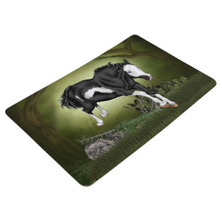 Jumping Black and White Paint Horse Print Floor Mat
