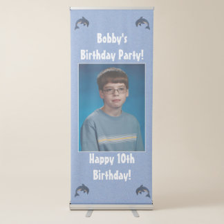 Jumping Blue White Dolphins Birthday Party Retractable Banner