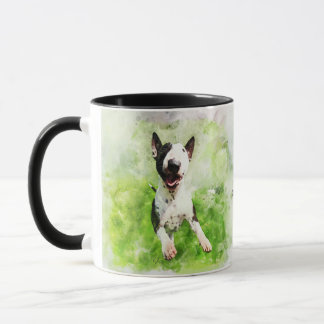 Jumping Bull Terrier puppy watercolor mug