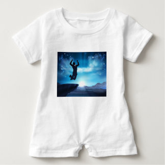 Jumping Businessman Success Concept Baby Bodysuit
