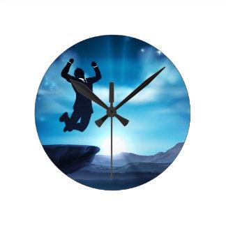 Jumping Businessman Success Concept Round Clock