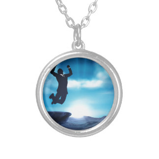 Jumping Businessman Success Concept Silver Plated Necklace
