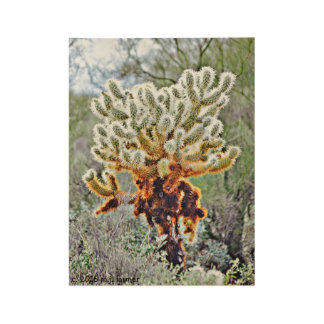 Jumping Cactus Wood Art Wood Poster