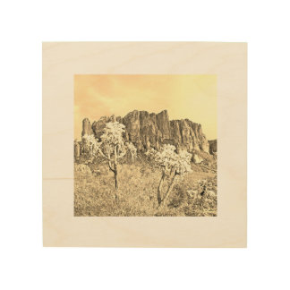 Jumping Cholla in Front of the Superstitions Wood Wall Art