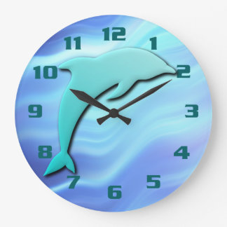 Jumping Dolphin 3D effect Cool Blue Wallclock