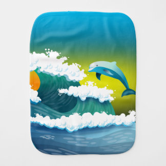 Jumping dolphin burp cloth